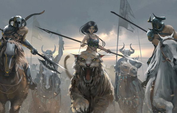 Picture girl, fantasy, horns, weapon, tiger, horses, digital art, warriors, fantasy art, spears, creature, pearls, riding, …