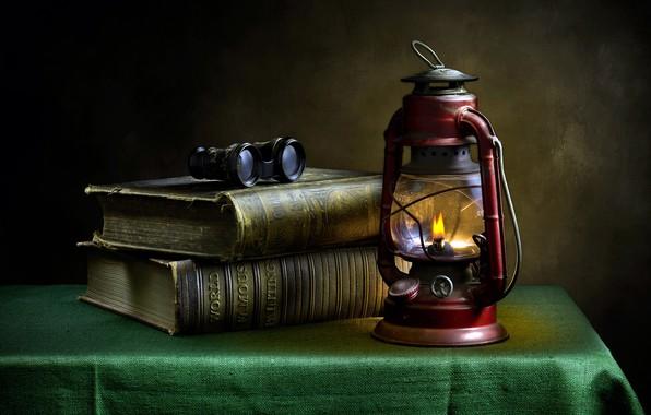 Picture books, lamp, binoculars