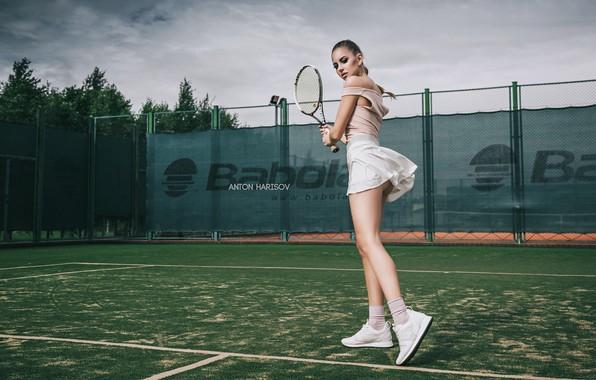 Picture girl, pose, racket, tennis, court, Anton Kharisov, Katrin Sarkozy