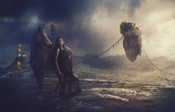 Picture grass, girl, mountains, clouds, castle, horse, space, space, light, girl, grass, chain, structure, mountains, clouds, …