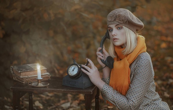 Picture autumn, girl, mood, watch, books, candle, blur, scarf, phone, takes