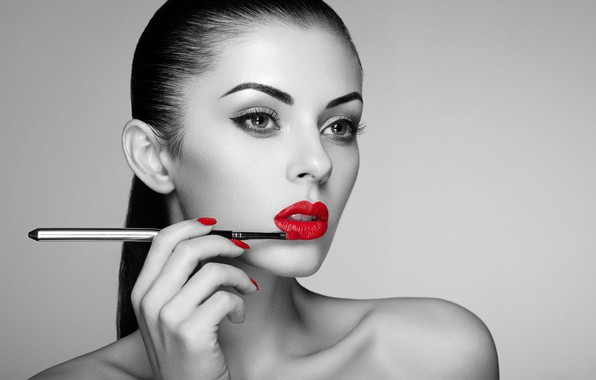 Picture look, girl, face, arrows, makeup, lips, black and white, Oleg Gekman