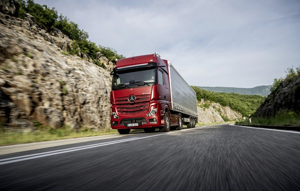 Picture road, red, Mercedes-Benz, tractor, 4x2, Actros, the trailer