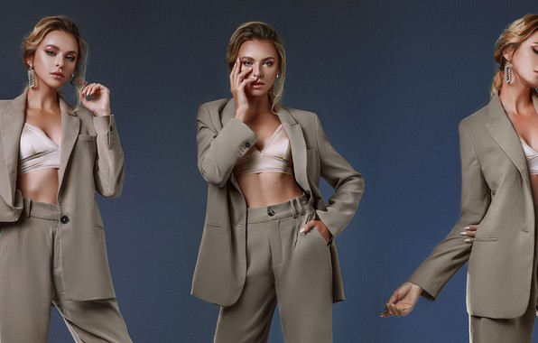 Picture girl, pose, style, background, collage, costume, jacket, pants, Eugene Angels, Angelov