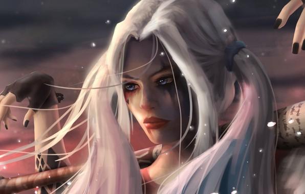 Picture girl, fantasy, blue eyes, comics, blonde, digital art, artwork, superhero, fantasy art, DC Comics, Harley …