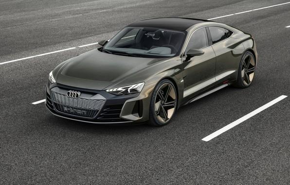 Picture asphalt, Audi, markup, coupe, 2018, e-tron GT Concept, the four-door