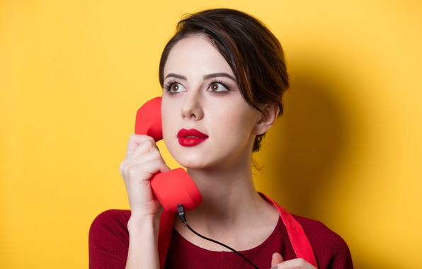 Picture girl, pose, yellow, background, hand, portrait, tube, makeup, hairstyle, phone, brown hair, in red, cute, …
