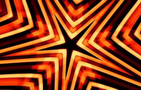 Picture Star, Black, Yellow, Abstract Art