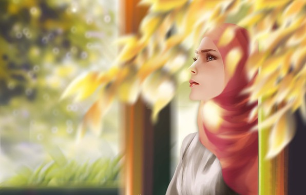 Picture animation, girl, digital, landscape, background, painting, illustration, muslim
