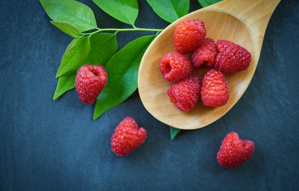 Picture leaves, blue, berries, raspberry, background, food, spoon
