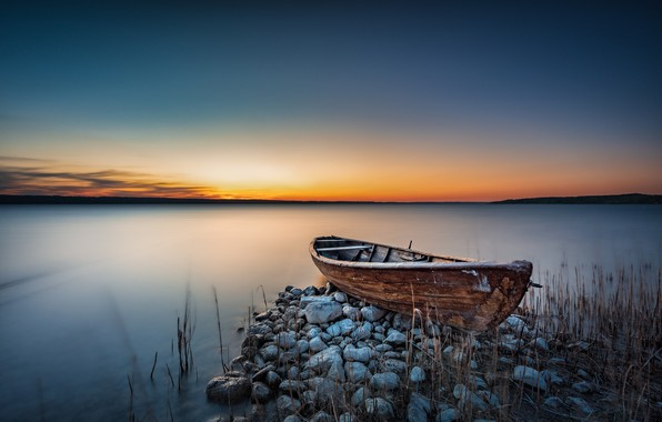 Picture sunset, shore, boat