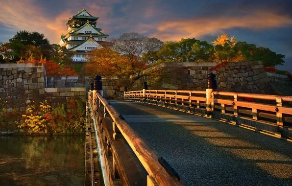 Picture autumn, trees, landscape, sunset, bridge, nature, castle, Japan, Osaka