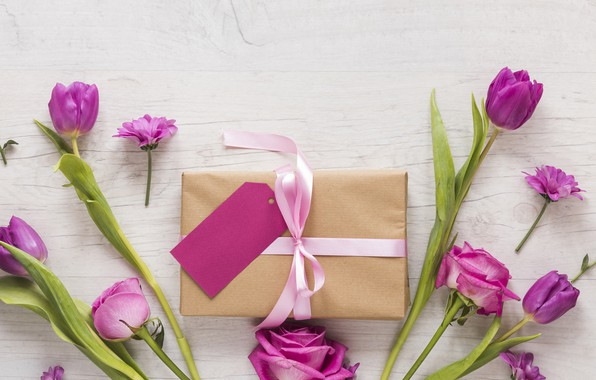 Picture love, flowers, gift, roses, petals, tulips, love, pink, pink, romantic, tulips, purple, petals, roses, gift …