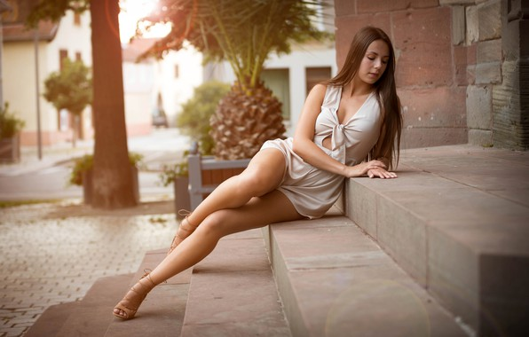 Picture girl, pose, model, portrait, makeup, figure, dress, hairstyle, stage, brown hair, legs, sitting, in white, …