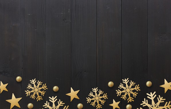 Picture winter, snowflakes, golden, black background, black, Christmas, winter, background, stars, snowflakes