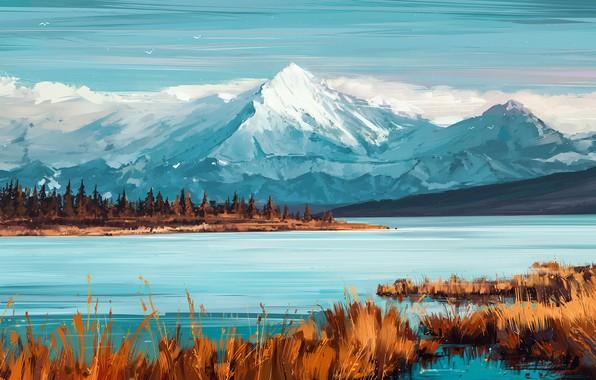 Picture Nature, Mountains, Figure, River, Art, Illustration, Aenami, by Aenami, Alena Aenam The, by Alena Aenami, …