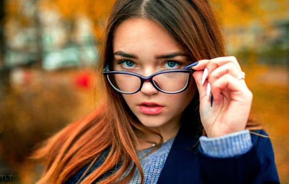 Picture autumn, look, girl, pose, model, portrait, makeup, glasses, hairstyle, beautiful, coat, redhead, bokeh, Alexander Biscuit, ...