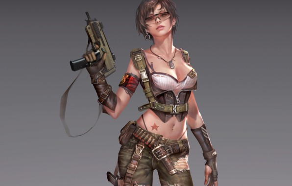 Picture look, girl, pose, weapons, background, art, glasses, cartridges, art