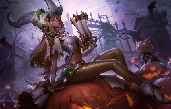 Picture Halloween, girl, fantasy, game, night, League of Legends, holiday, blonde, digital art, artwork, candles, bats, …