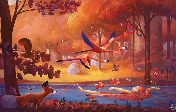 Picture forest, animals, girl, fish, landscape, birds, nature, river, fantasy, art, illustration