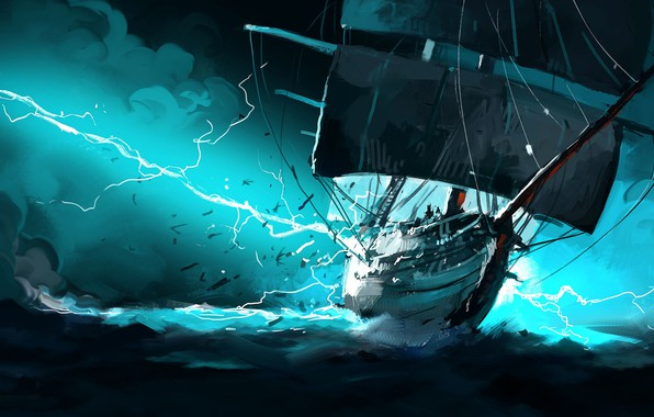 Picture The ocean, Sea, Figure, Lightning, Ship, Storm, Fantasy, Art, Illustration, Concept Art, Taser, Dominik Mayer, ...