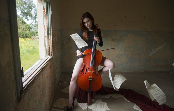 Picture girl, notes, cello