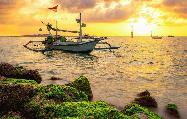 Picture sunset, shore, boats