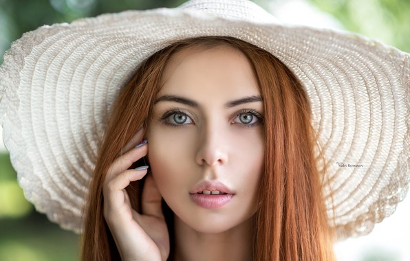 Picture look, close-up, face, model, portrait, hat, makeup, hairstyle, white, beauty, redhead, bokeh, Maxim Romanov