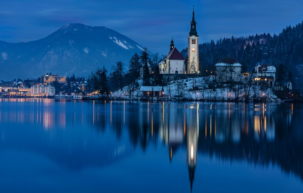 Picture mountains, night, lake, reflection, island, Slovenia, Lake Bled, Slovenia, Lake bled, Bled, Assumption of Mary …