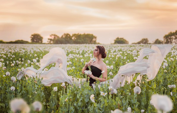 Picture summer, the sky, girl, nature, Maki, dress, fabric, white, poppy field