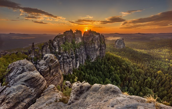 Photo wallpaper mountains, Germany, Saxon Switzerland