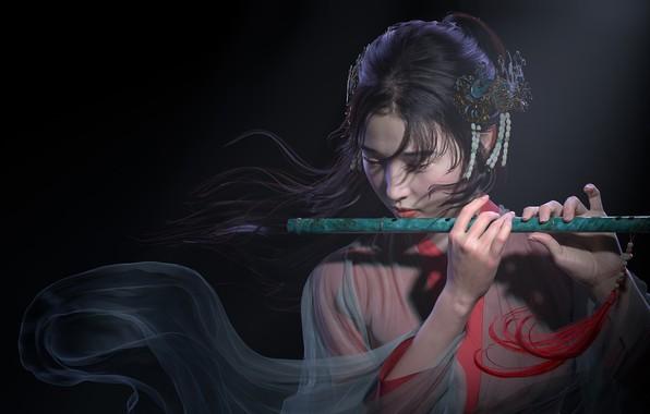 Picture girl, art, flute, musician, Qi Sheng Luo