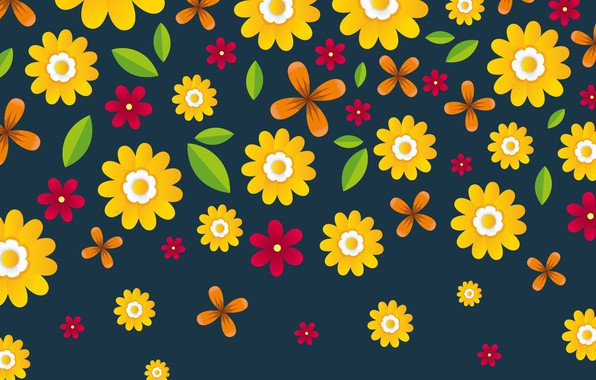 Picture flowers, texture, Flowers, blue background, background
