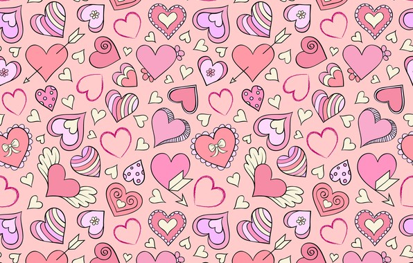 Picture background, pink, hearts