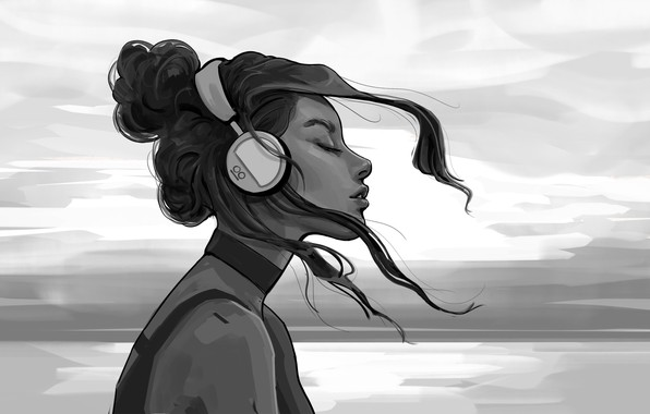 Picture Girl, B/W, Figure, Headphones, Girl, Hair, Black and white, Art, Art, Headphones, Hair, Artist, Black …