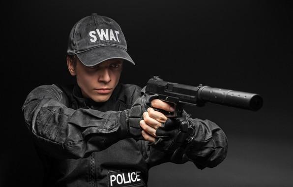 Picture pose, gun, jacket, gloves, male, form, cap, black background, muffler, in black, SWAT, police, POLICE