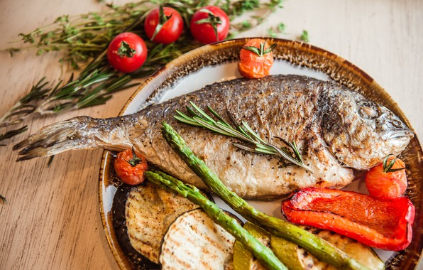 Picture fish, vegetables, grill