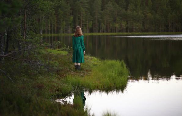 Picture girl, river, dress, the river, Irina Kite