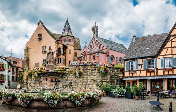 Picture flowers, France, home, monument, fountain, Alsace, Eguisheim