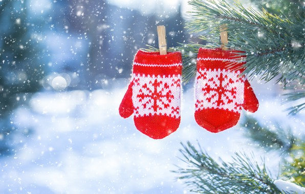 Picture snow, decoration, snowflakes, New Year, Christmas, christmas, winter, mittens, snow, merry, snowflakes, decoration, fir tree, …