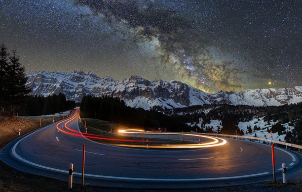 Picture lights, road, trees, nature, night, mountains, snow, landscapes, asphalt, blur effect, snow-covered, starry, 4k ultra …