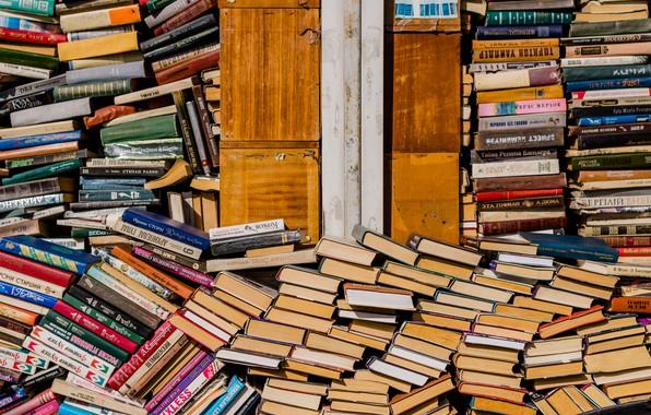 Picture books, market, shelves, Kiev, bookseller, pil