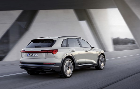 Picture grey, movement, Audi, rear view, E-Tron, 2019