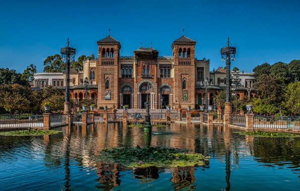Picture pond, the building, lights, architecture, Spain, Spain, Seville, Andalusia, pavilion, Andalusia, Seville, Maria Luisa Park, …