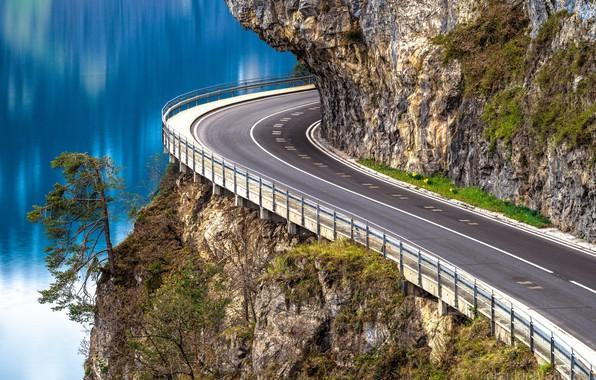 Picture road, rock, lake, tree, Switzerland, Switzerland, pine, Lake Thun, Lake Thun, Thunersee