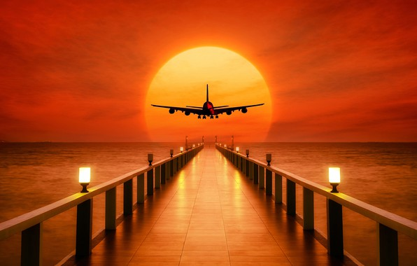Picture sea, the sky, the sun, sunset, lights, horizon, silhouette, lights, pierce, glow, the plane