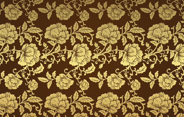 Picture retro, background, Wallpaper, pattern, roses, gold, brown, vintage
