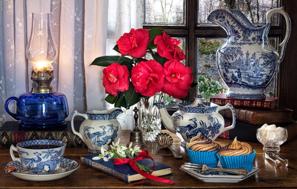 Picture flowers, style, books, lamp, kettle, window, snowdrops, Cup, pitcher, still life, cupcakes, cupcakes, Camellia