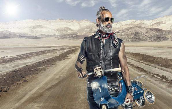 Picture road, motorcycle, biker