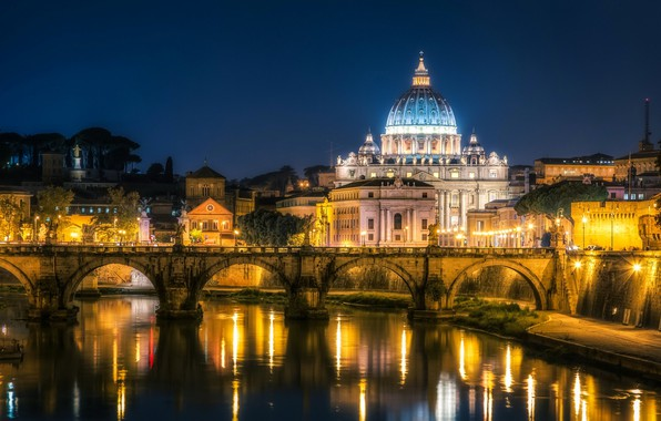 Picture night, lights, Rome, Italy